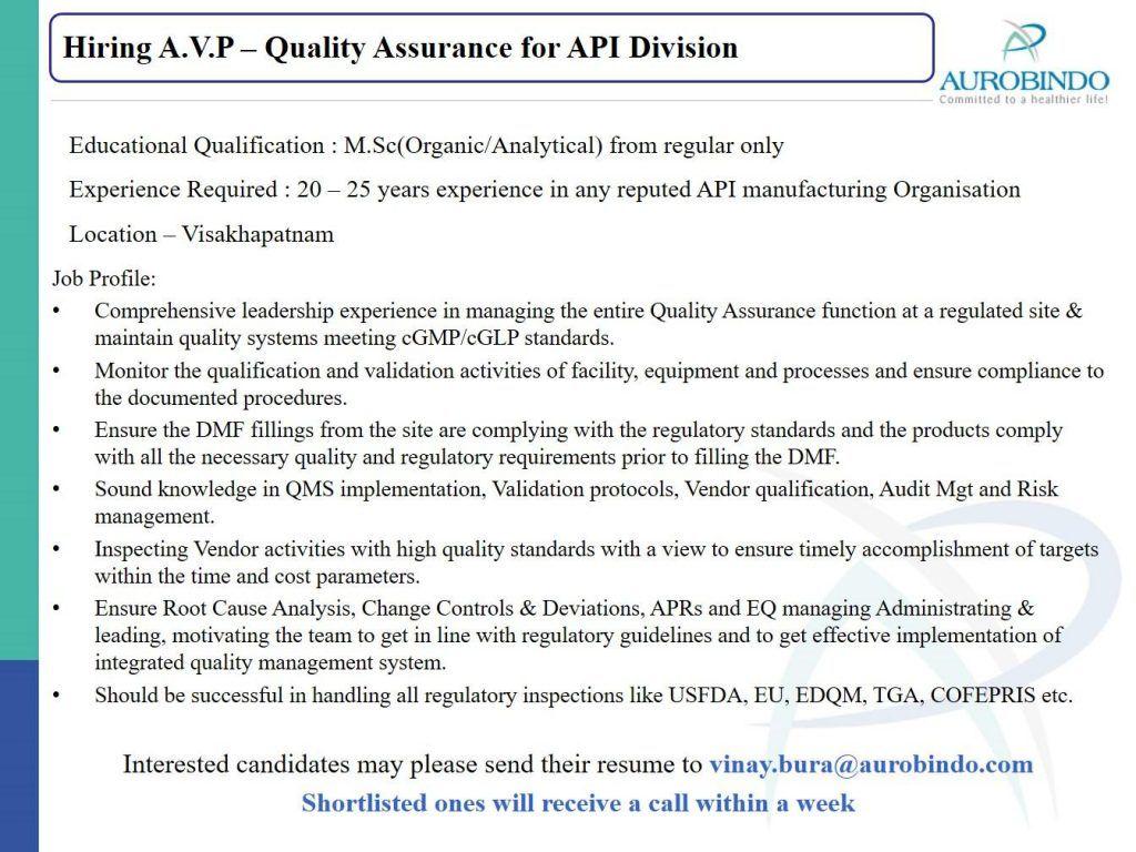 Associate Vice President Quality Assurance India Job