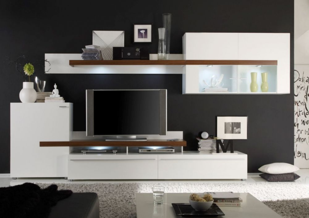Peaches Wohnwand Ii Weiss Eiche Beautiful Living Rooms Living Room Wall Units Living Room Tv Stand