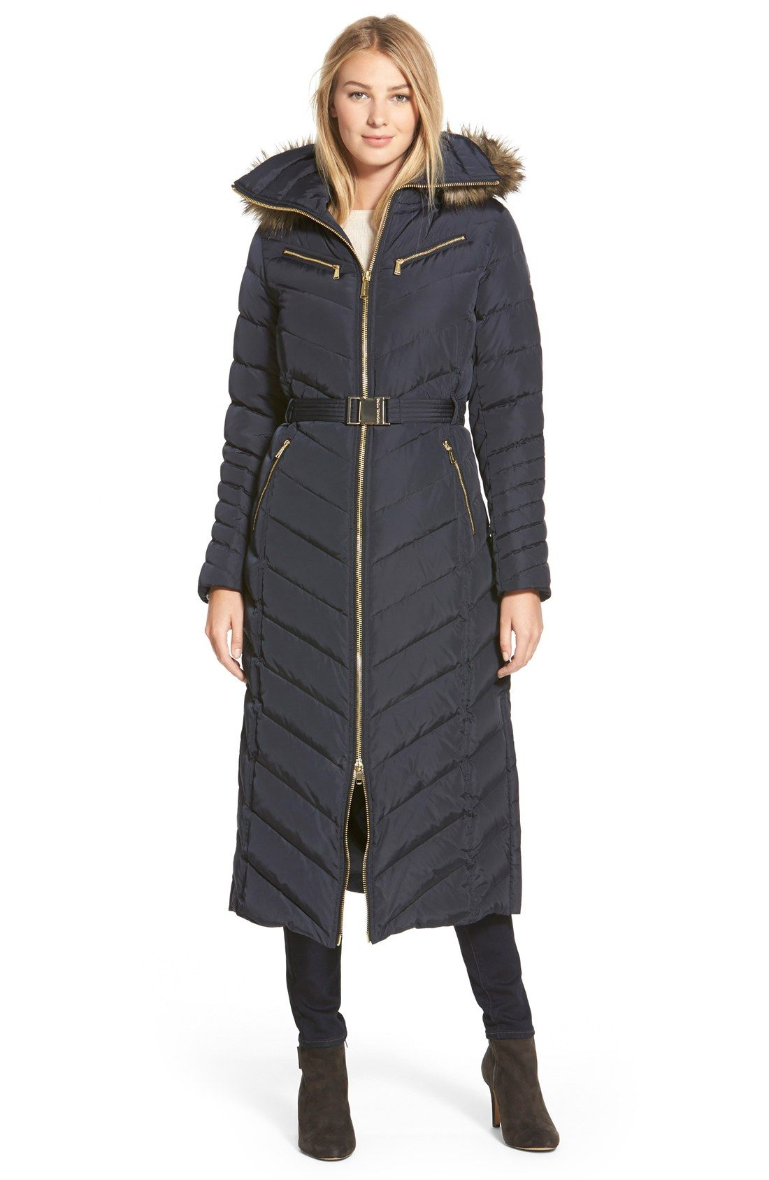 9b7a65c3e MICHAEL Michael Kors Belted Long Quilted Down & Feather Fill Coat ...