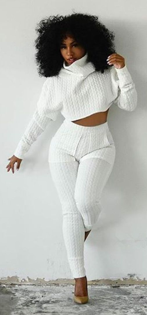 ca4e7052599702 Stylish Turtleneck White Crop Top and High Waist Bodycon Pants Twinset For  Women