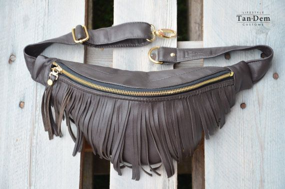 80d87c61f2b Handcrafted real leather tassel. Fringe leather fanny pack. Bum bag ...