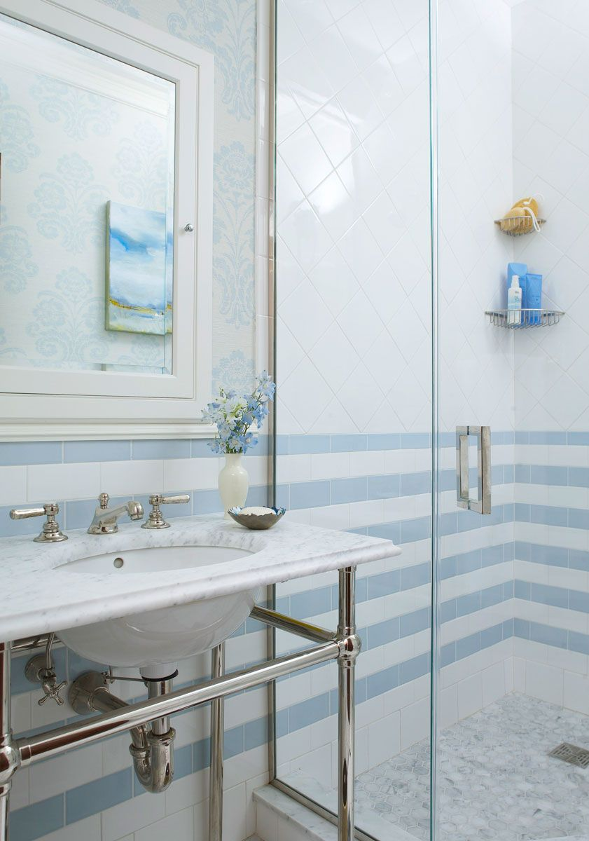 Decorating Ideas for Blue-and-White Bathrooms | White subway tiles ...