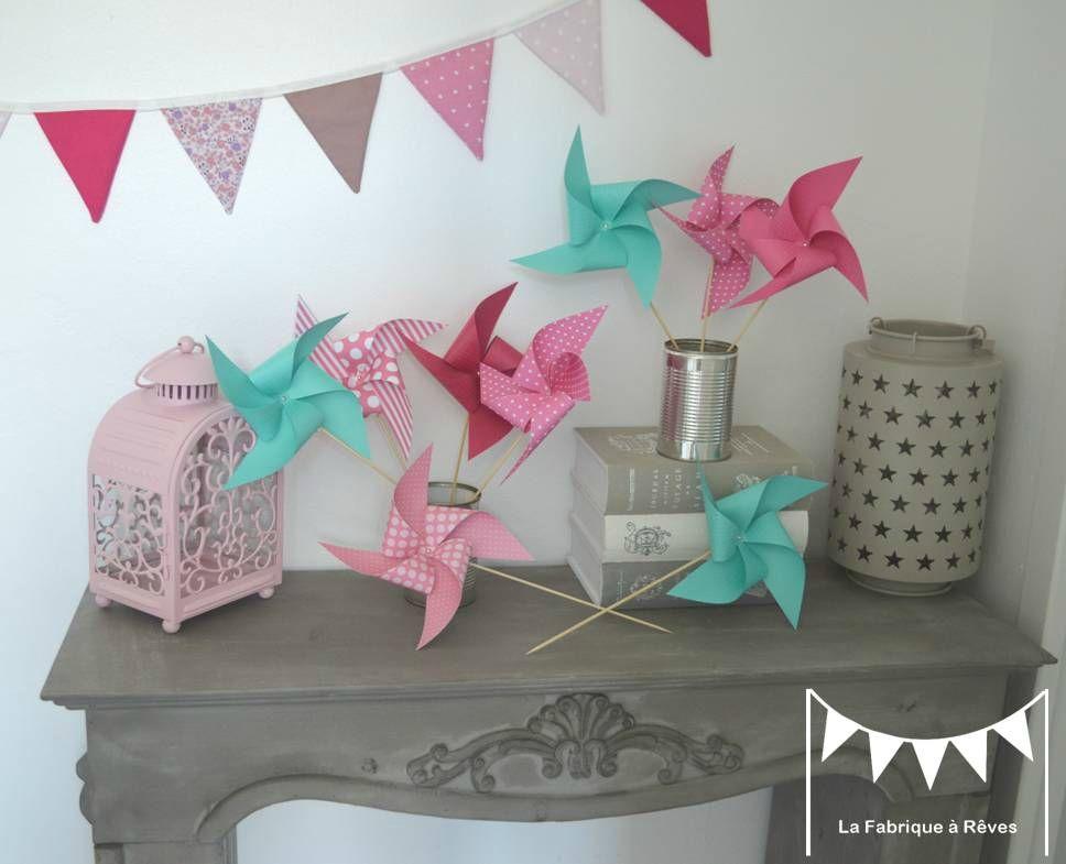 moulin à vent aqua pink vert menthe lagon rose - décoration ...