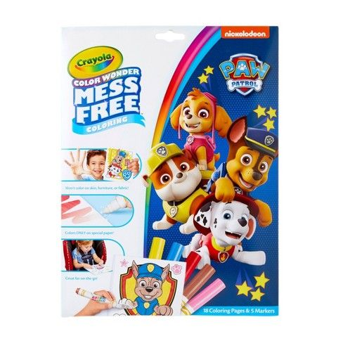 Crayola Color Wonder Coloring Kit  Paw Patrol - Paw patrol coloring, Free coloring, Paw patrol coloring pages, Paw patrol, Sharpie fine, Paw patrol toys - Keep the Color Wonder fun going with 18 messfree coloring pages of fun Paw Patrol art! Also includes 5 Color Wonder markers that won't color on skin, furniture or fabric
