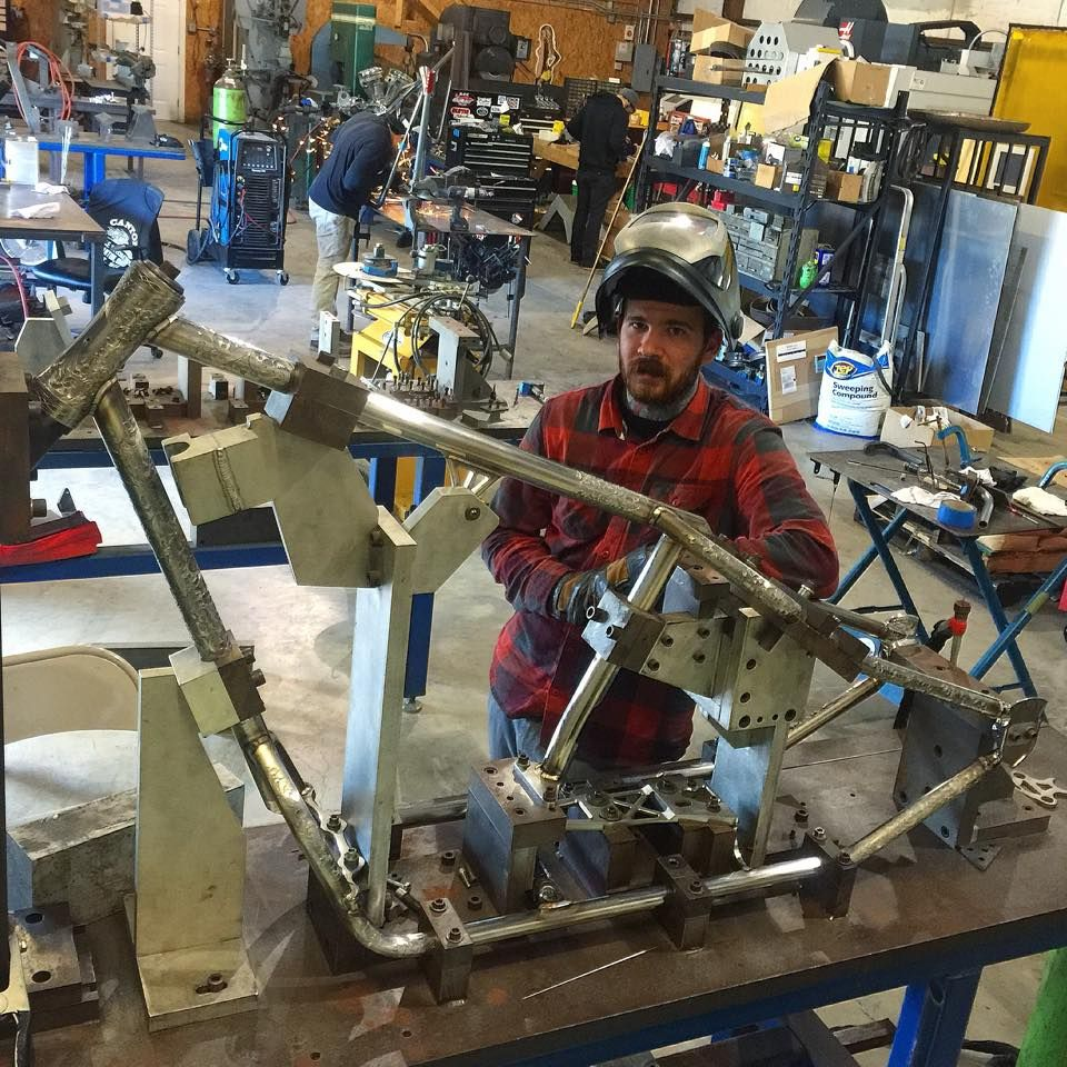 Nice frame jig from west coast choppers   Motorbikes