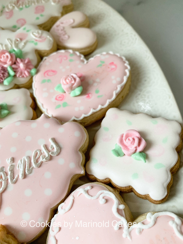 White and Pink Shabby Chic Cookies for Weddings Anniversary Showers or Birthdays 1 Dozen