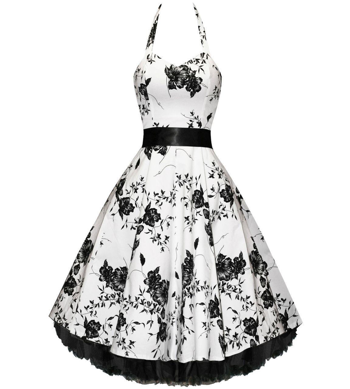 Floral White Black Halter Dress Fashion Western Dresses For Women Rockabilly Dress [ 1280 x 1151 Pixel ]