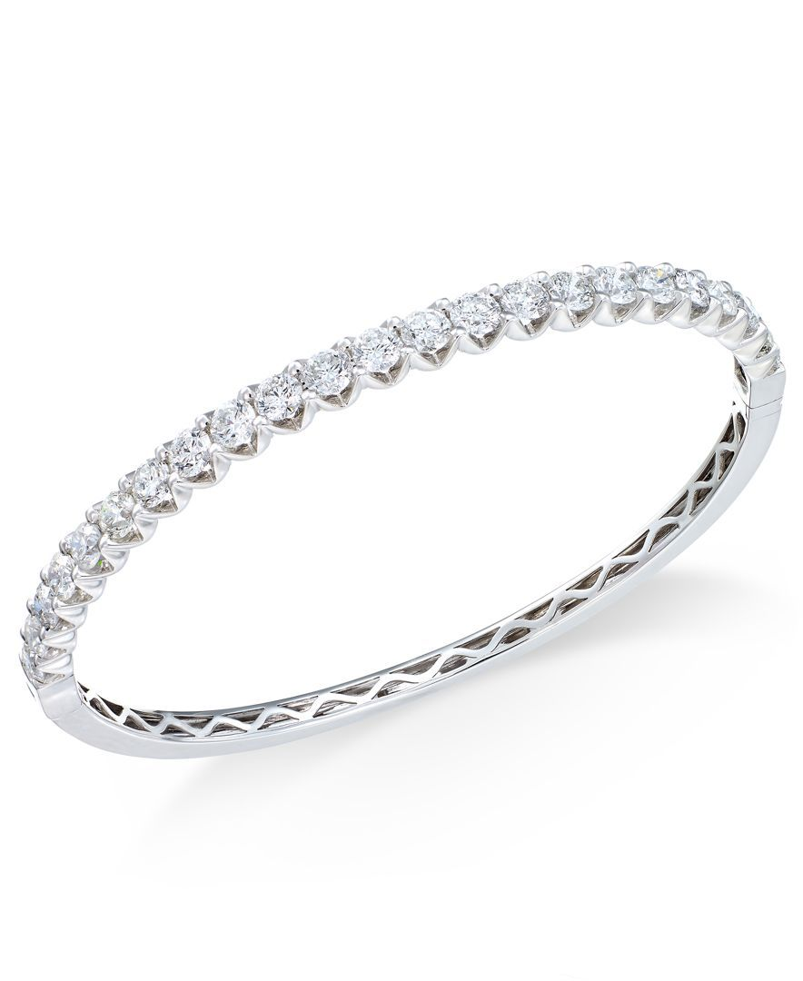 Diamond Bangle Bracelet 4 1 4 Ct T W In 18k Gold Or White Gold Bracelets Jew Diamond Bangle Bracelet White Gold Diamond Bangle Diamond Bangles Bracelet