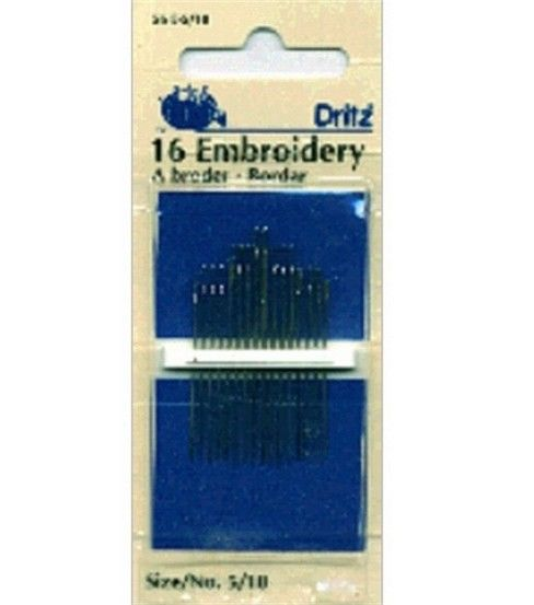 Dritz Embroidery Hand Needles 12pcs Size 7 - Size 5/10 16/pkg