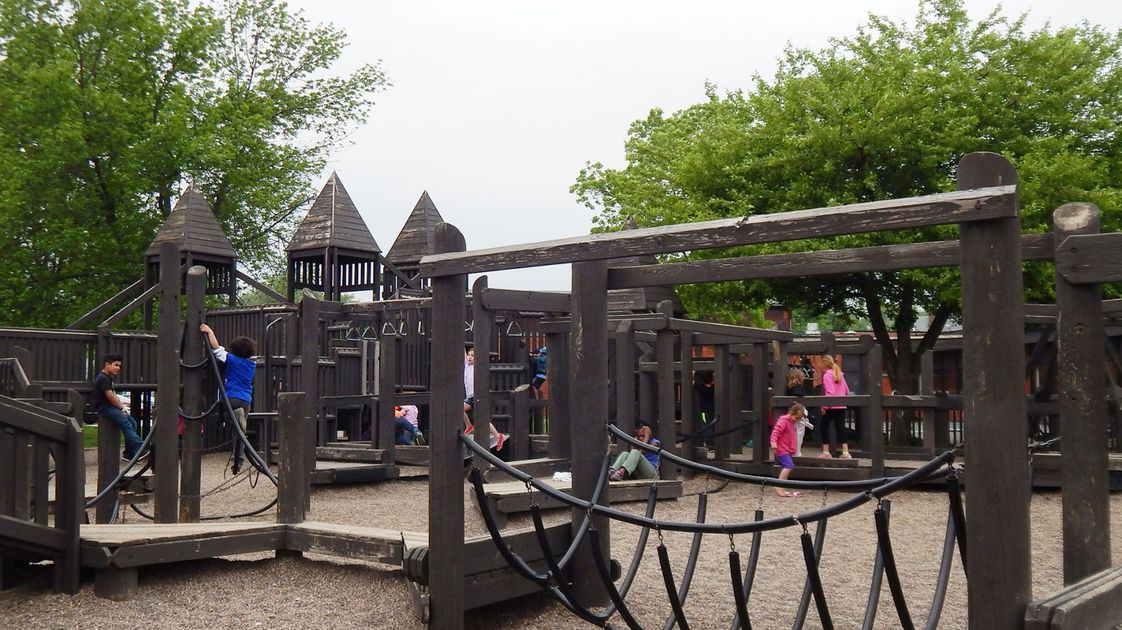 MUSCATINE, Iowa — The wooden playground at Franklin