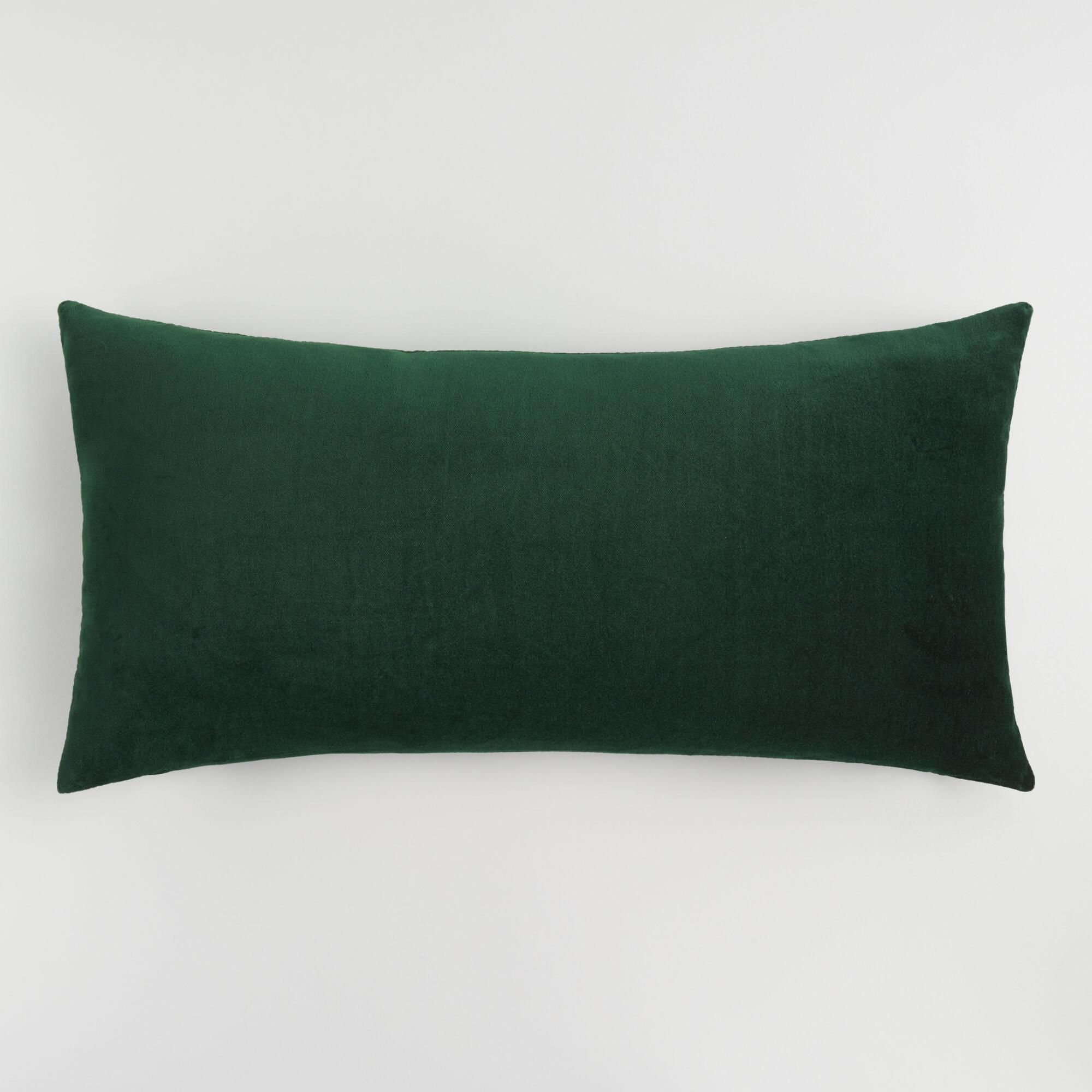Oversized Forest Green Velvet Lumbar Pillow By World Market
