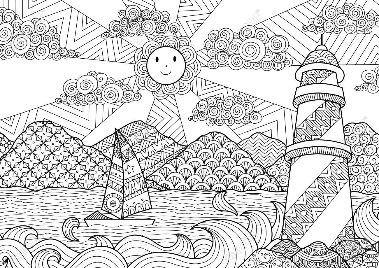 El Diseno Del Arte Del Paisaje Marino Por Linea De Libro De Colorear Para Los Adultos Arte Paisajes Linea De Arte Produccion Artistica