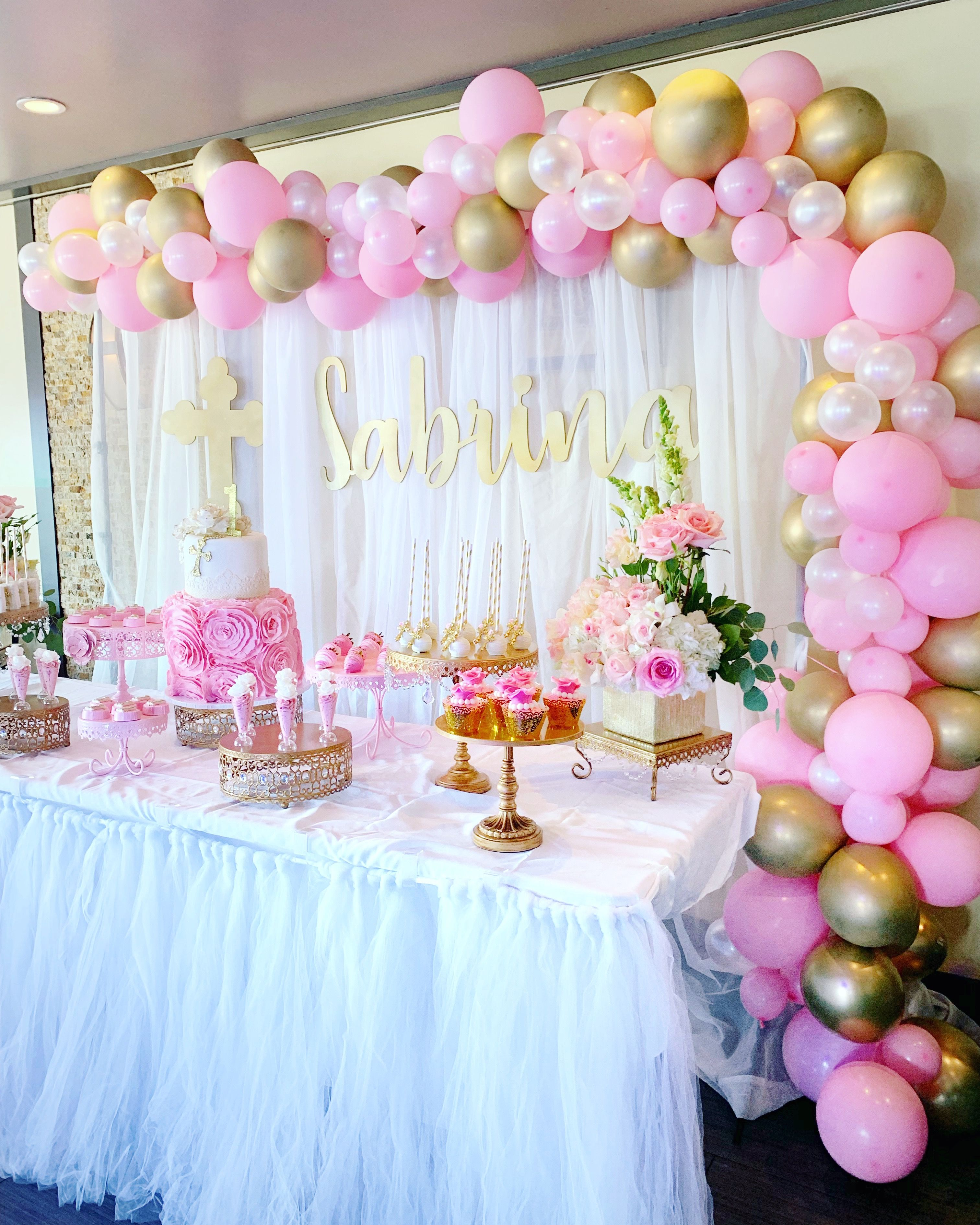 Pink Gold Baptism First Birthday Princess Dessert Table