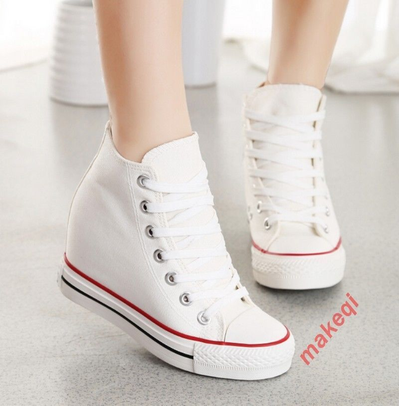 ac7c363a8f96 Ladies Womens Canvas High Top Lace Up Hidden Wedge Heel Trainers Shoes  Sneakers4