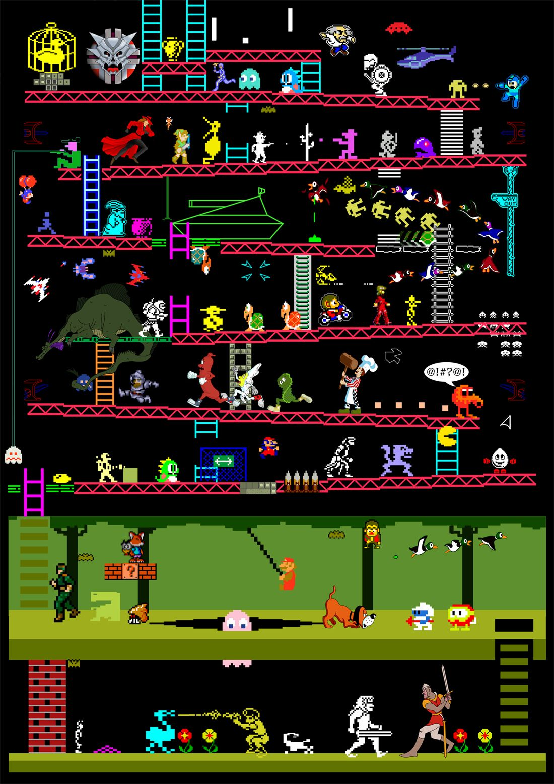Arcade Games 50 Reto Video Game Classics In One Illustration I
