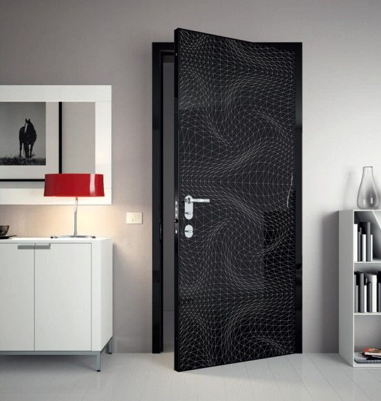 Modern Interior Doors Black super modern interior doors with cool graphic and colors