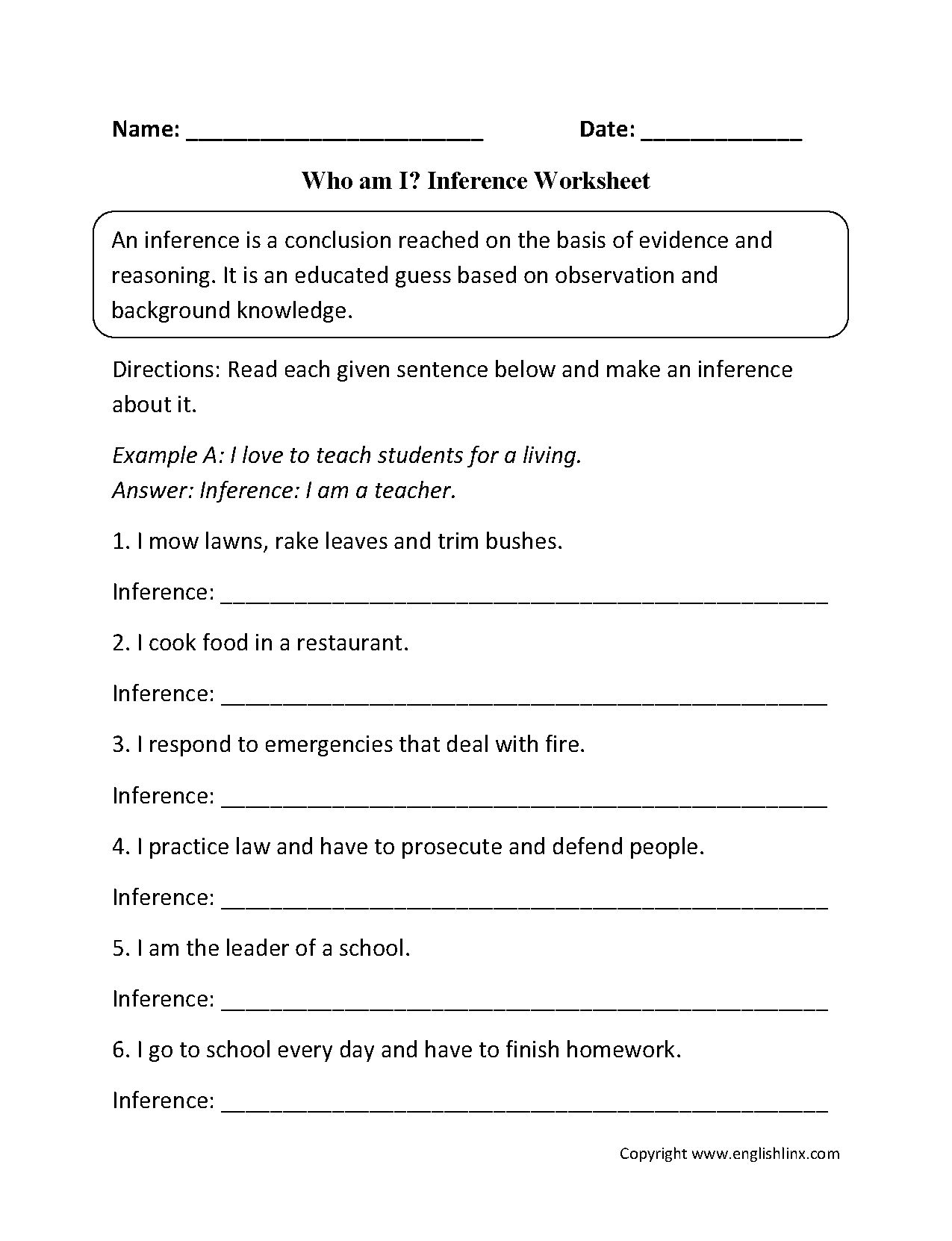 Who Am I Inference Worksheets Englishlinx Com Board Inference