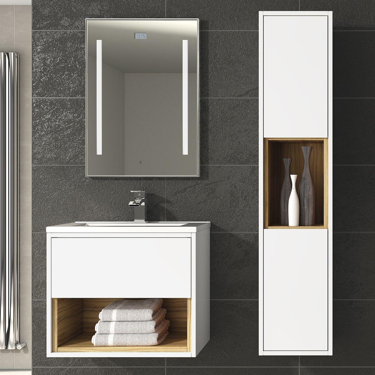 Balterley Coast 500mm Wall Mounted Vanity Unit Open Shelf Gloss White Cocobola White Vanity Unit Vanity Units Wall Hung Bathroom Vanities