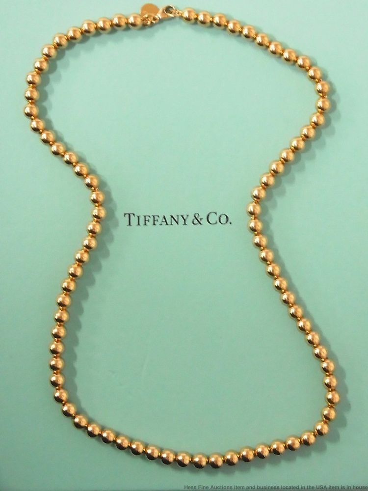 5ebea5293680 Tiffany Co 18K Gold Ball Bead 5.5mm Necklace w Box from City Hardwear  Collection  TiffanyCo