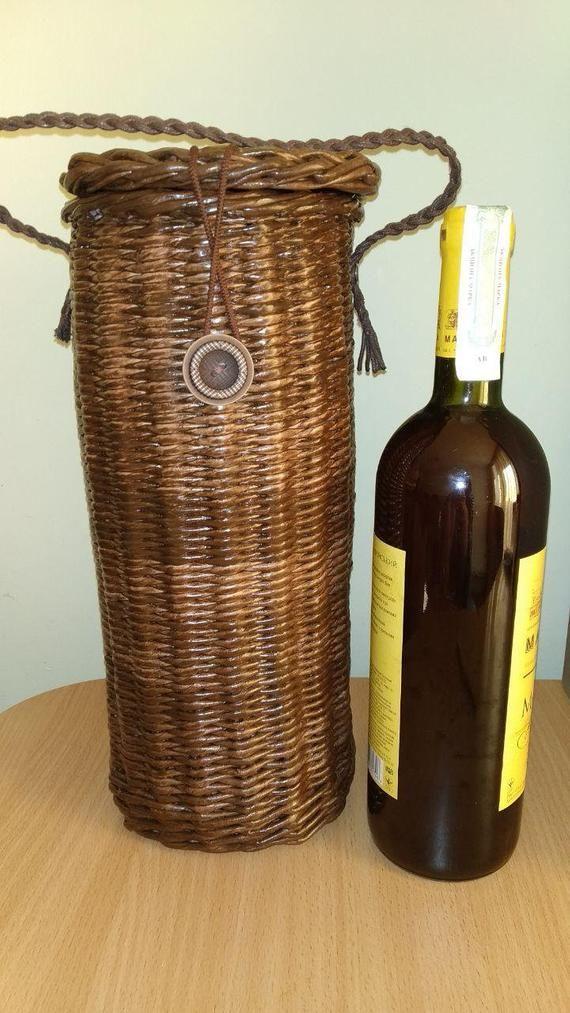 3f82a45abc Woven wine box Bottle holder Bottle carrier Wine bottle gift Wicker ...