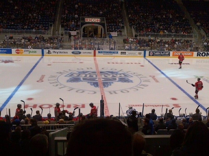 The View From Our Seats At Ricoh Coliseum For The Toronto Marlies Sports Basketball Court Hockey Rink