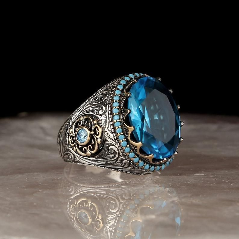 Solid 925 Sterling Silver Ring With Blue Topaz Gemstone Jewelry R1911-1