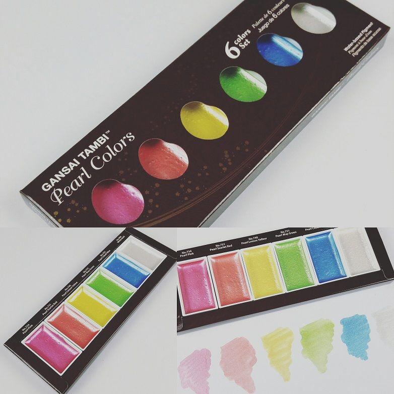 Kuretake Gansai Tambi Pearl Colors 6 Wasserfarbentone Die Funkeln