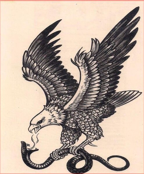 Vintage Eagle And Snake Snake Tattoo Design Black Tattoos