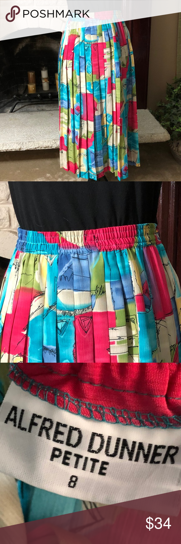 205deb652 Alfred Dunner pleated midi skirt colorful print 100% poly elastic waist for  comfort Alfred Dunner