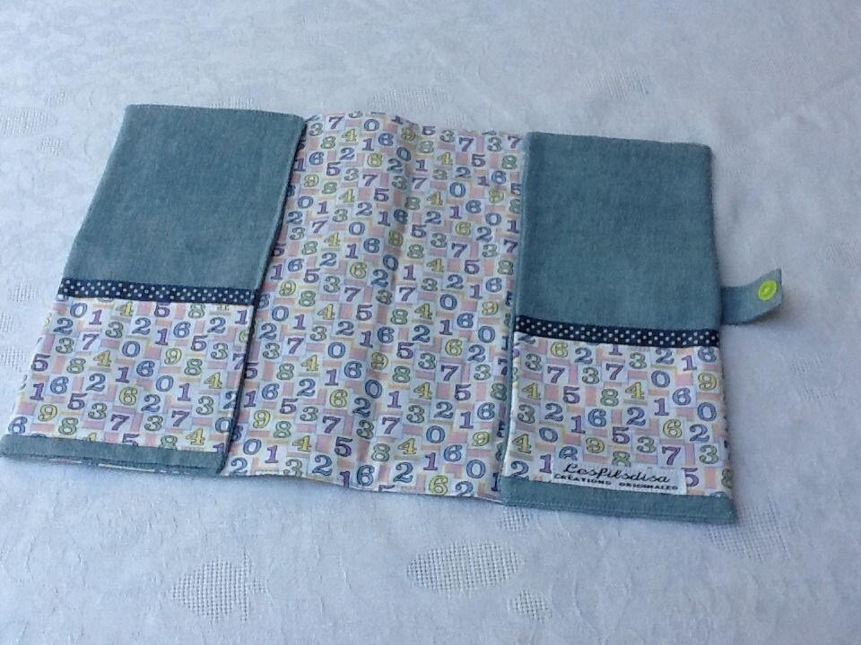 Protége carnet de santé en tissu chambray