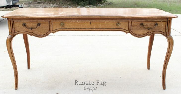 Antique French Desk - The Rustic Pig - French Desk Transformation Furniture To Make & Make-over