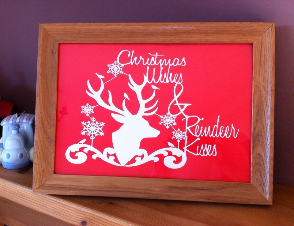 Reindeer Kisses papercut from Lily's Cutting Pad #handmade