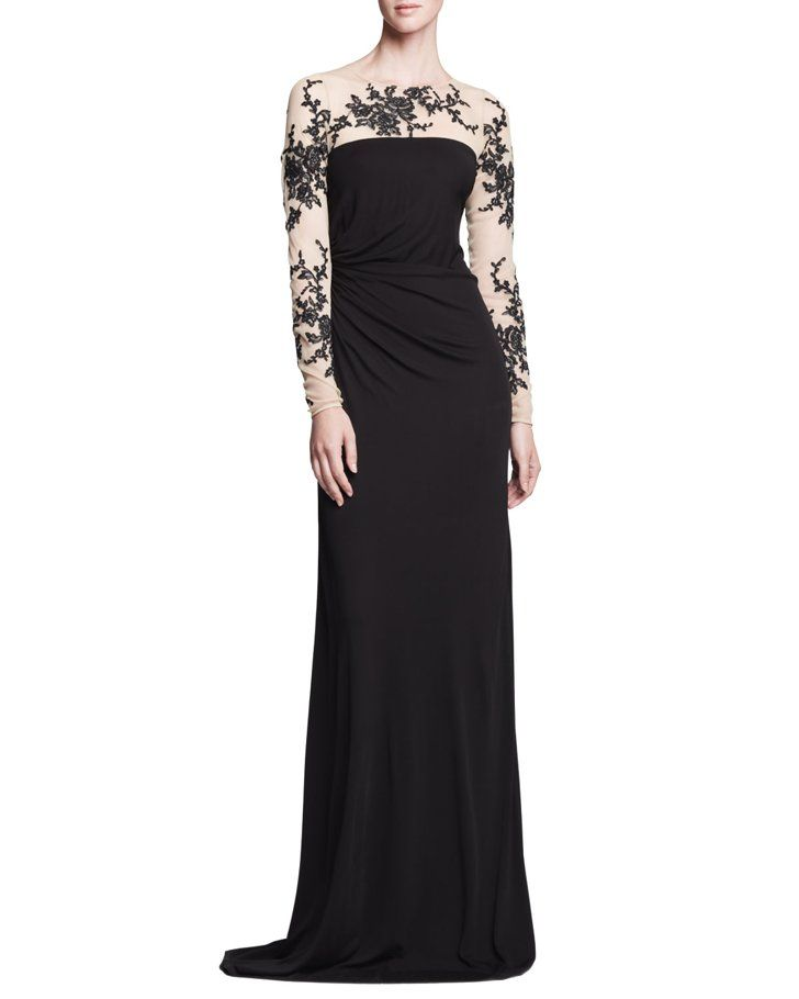 David Meister Long-Sleeve Lace Gown | David meister, Illusionen und ...
