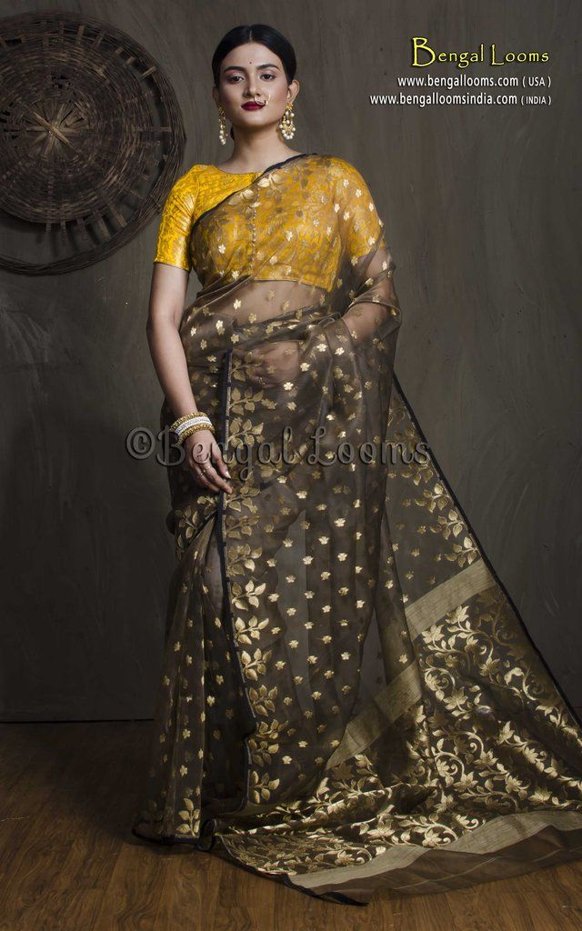 ba21a581c41 Pure Handloom Muslin Jamdani Saree in Brown and Gold | Jamdani Saree ...