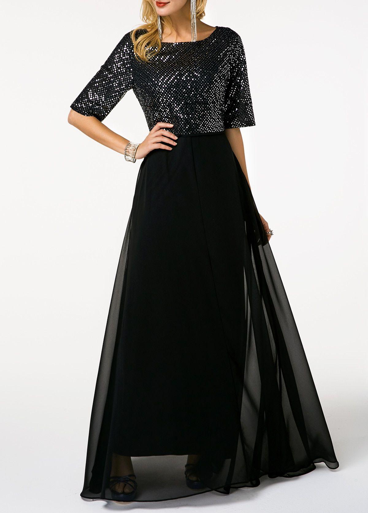 Half Sleeve Sequin Embellished Black Chiffon Maxi Dress Rotita Com Usd 32 77 Half Sleeve Dresses Chiffon Maxi Dress Black Chiffon Maxi Dress [ 1674 x 1200 Pixel ]