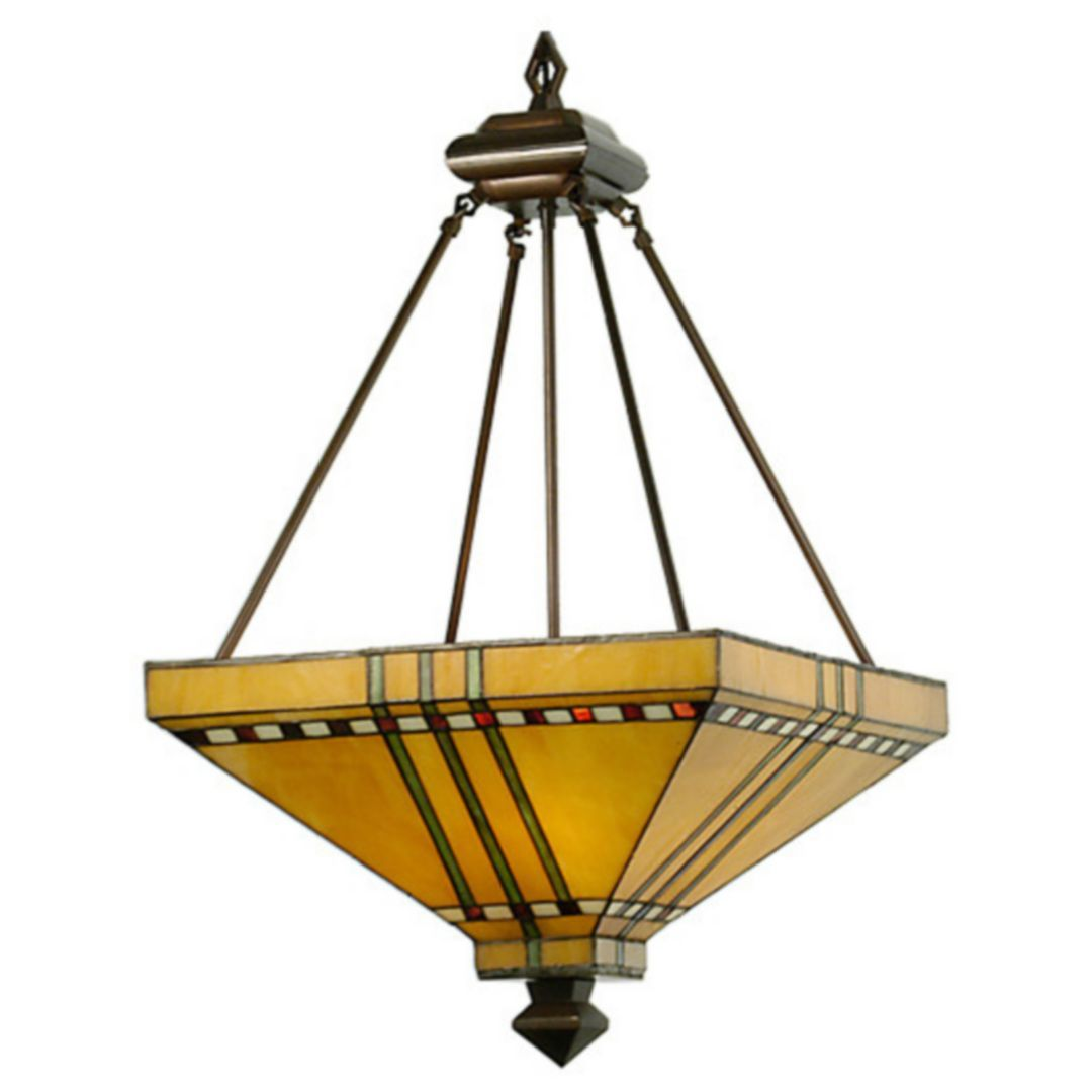 Mission Stickley Southwest 17 Inch Square Prairie Corn Inverted Pendant By Meyda Lighting 50621