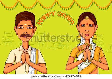 4d9af3eb4f Vector design of South Indian couple wishing Happy Onam in Indian art style