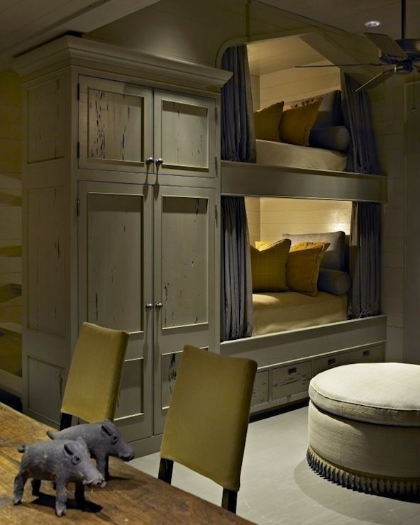 Rustic cabin boys' bedroom with gray washed armoire, gray ...
