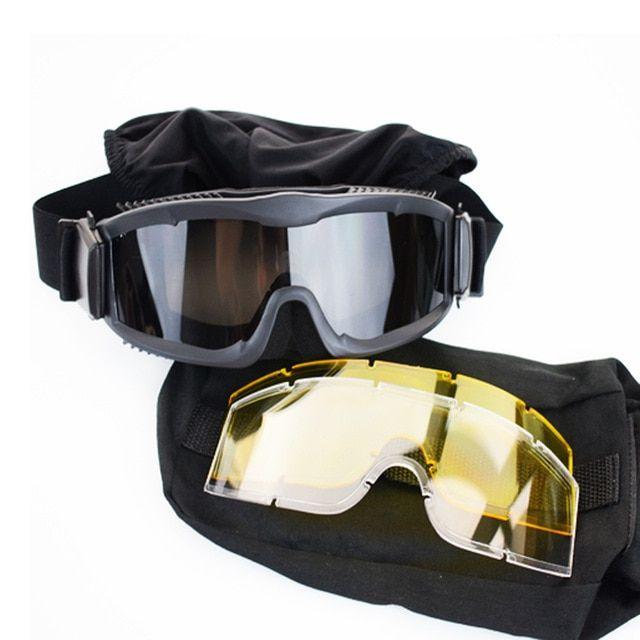 Military Airsoft Tactical Shooting Glasses 3 Lens Goggle Cycling Hunting Eyewear