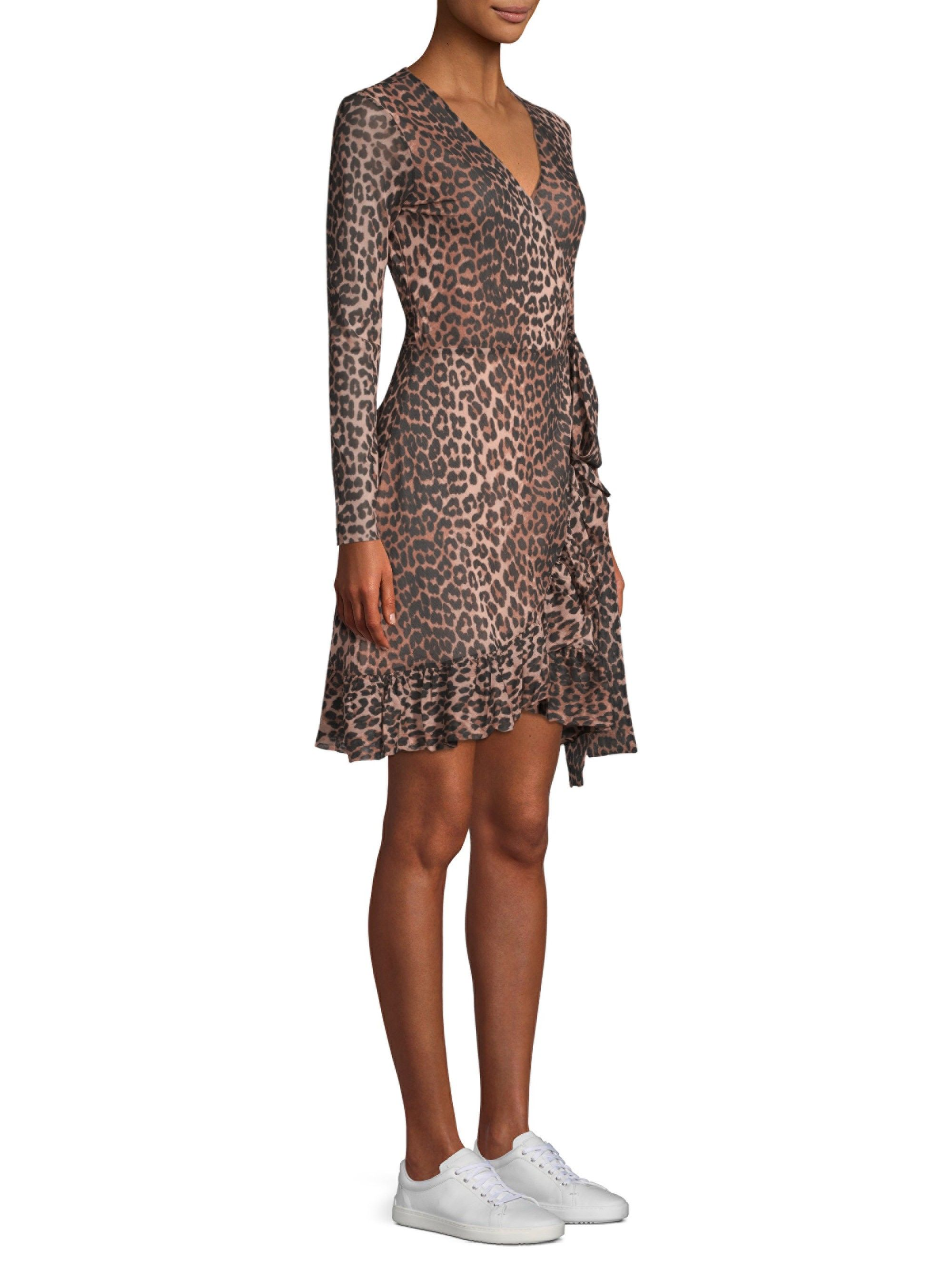 837951c0 Tilden Mesh Leopard Print Dress by Ganni | Products | Wrap dress ...