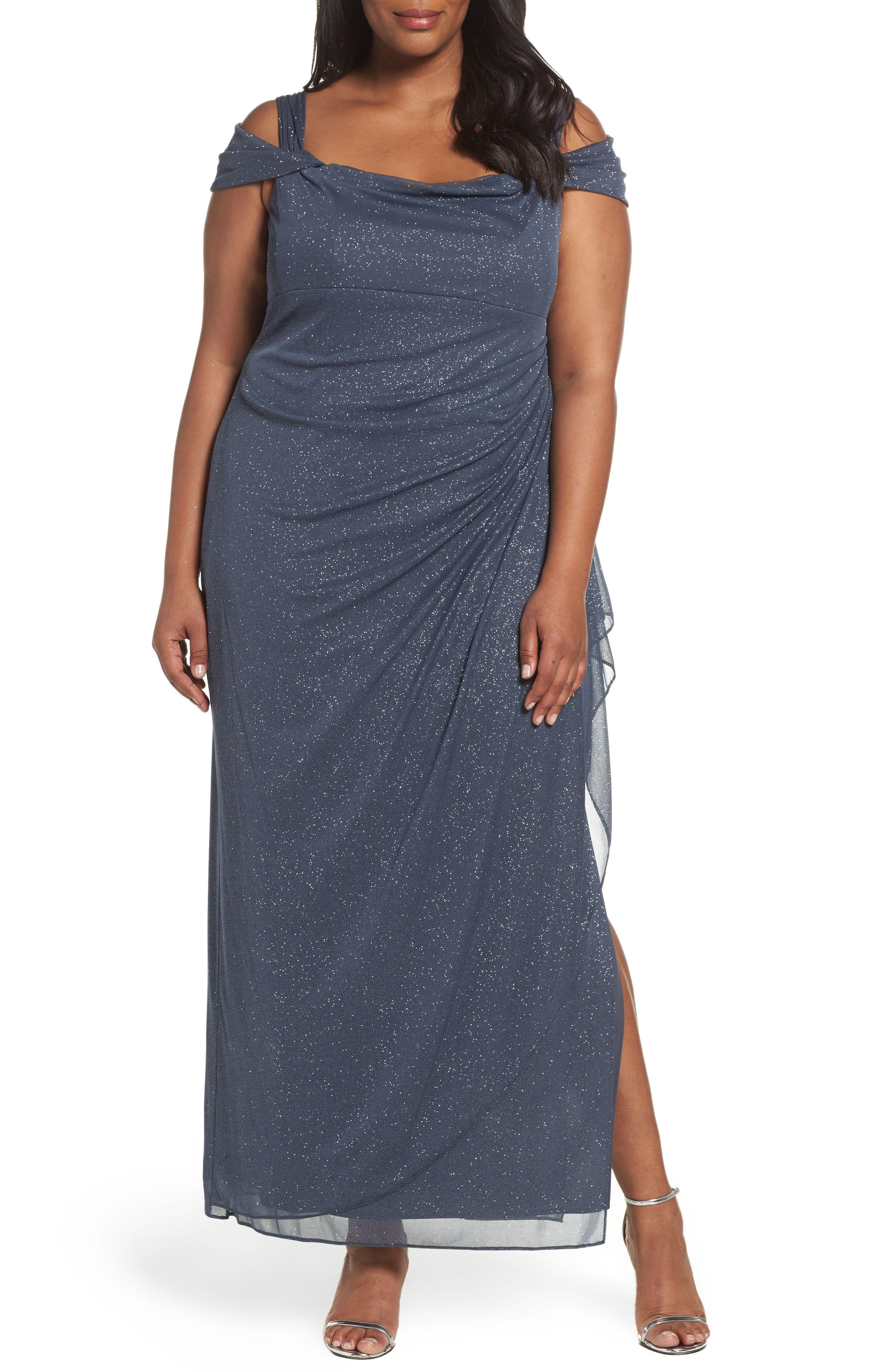 46b7f9e04af Buy Alex Evenings Cold Shoulder Sheath Gown (Plus Size) online     fashiondressideas