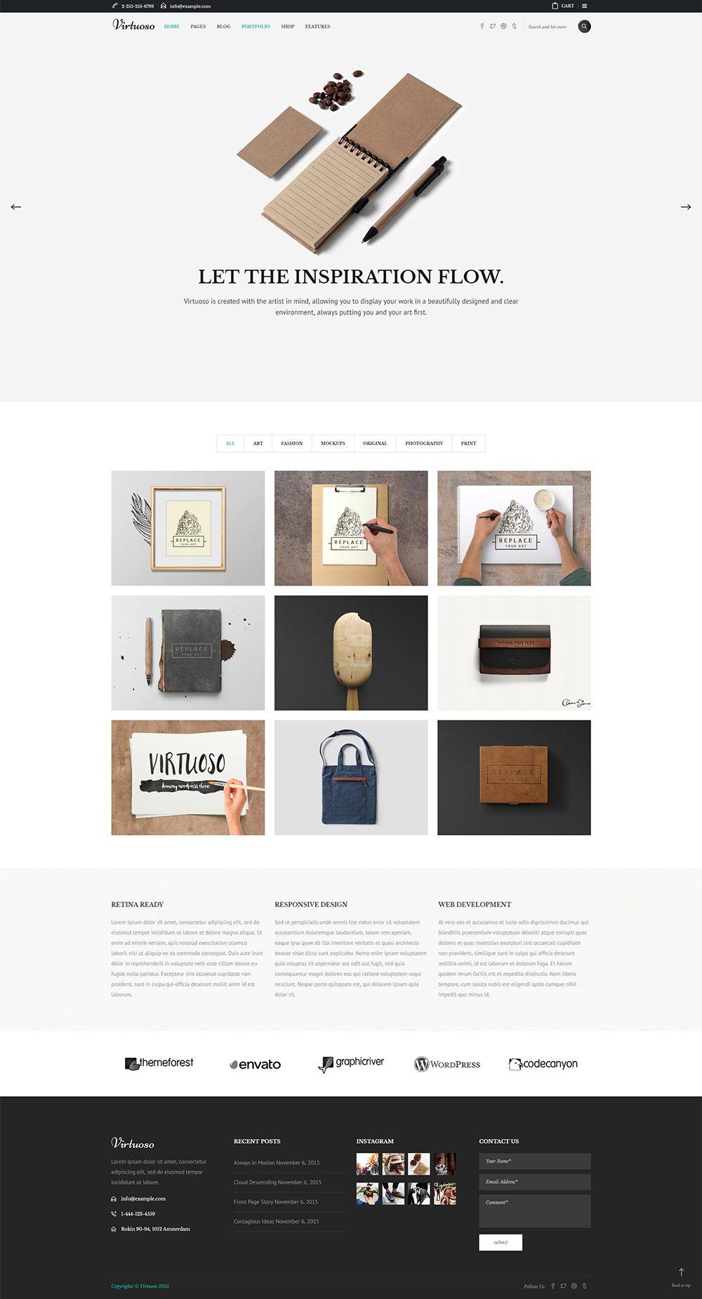 Virtuoso Creative Theme For Artists Creative Wordpress Themes Virtuoso Creative