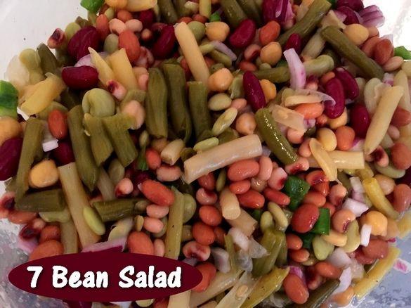 Seven Bean Salad  http://www.momspantrykitchen.com/seven-bean-salad.html