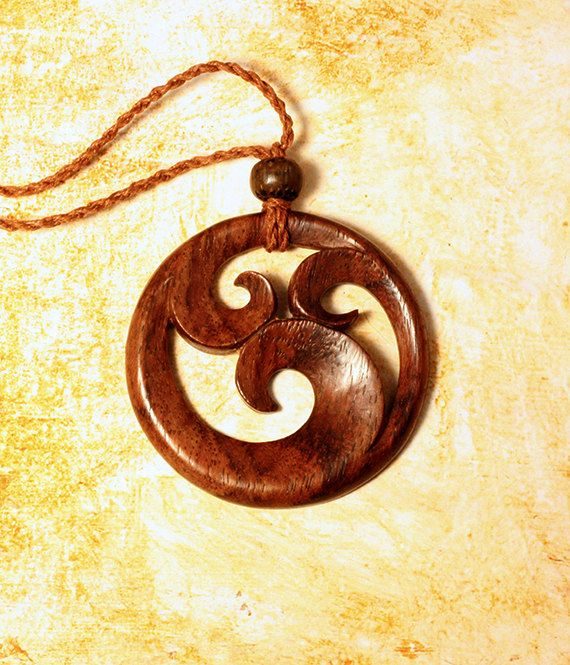 wood dragon pin carved necklace wooden jewelry pendant