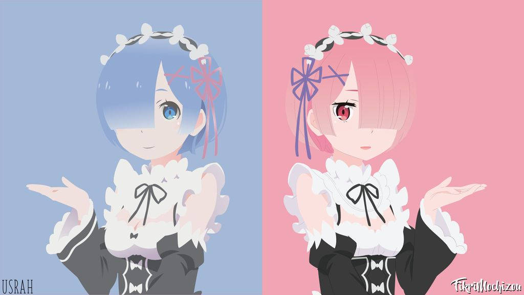 Ram And Rem Re Zero Minimalist By Fikrimochizou Anime Anime Wallpaper Ram And Rem