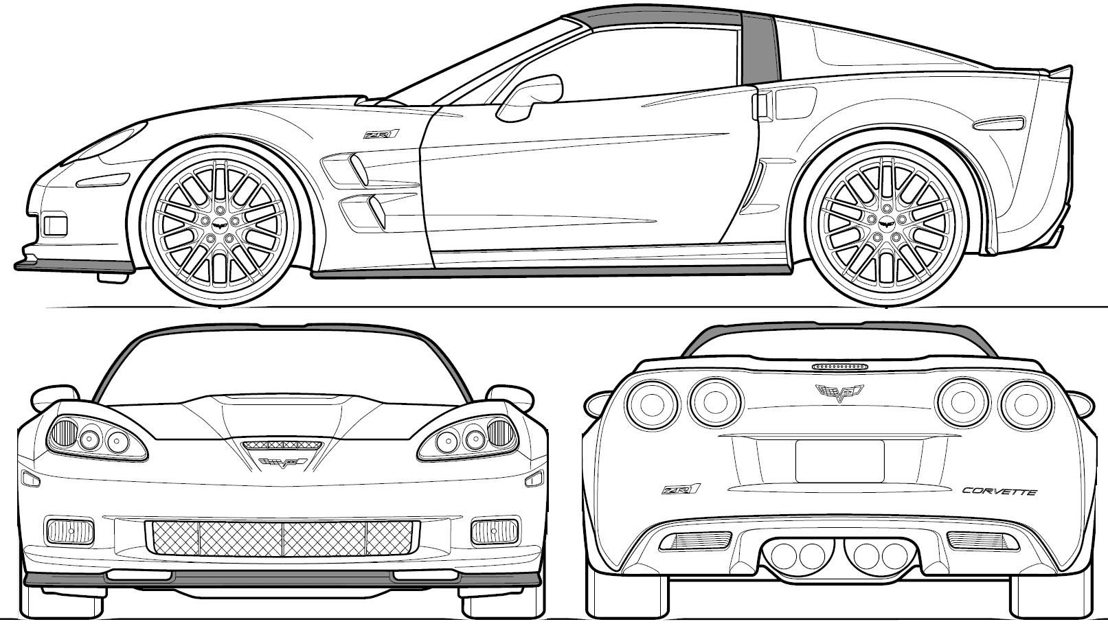 automobile blueprints | Car Blueprints: Chevrolet Corvette C6 ZR1 ...