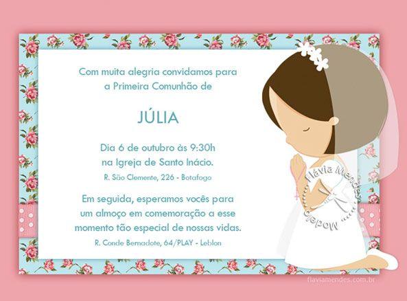 Convite Primeira Comunhão Pesquisa Google Primera