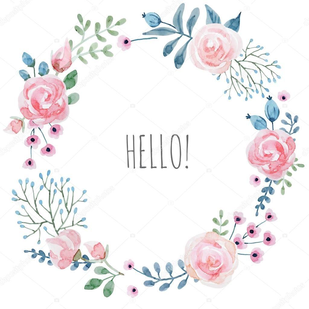 Wunderschöne Handgezeichneten Aquarell Blumenkranz Frame