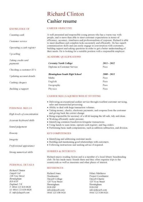 Entry Level Resume Templates Jobs Sample Examples Free Cashier