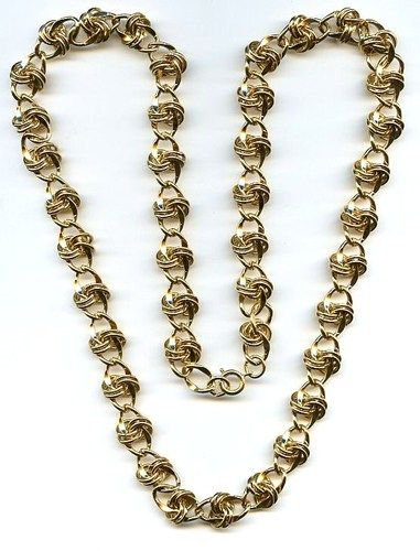 """Vtg 1980s Chunky Knot Chain Link Gold Tone Necklace Opera Length 29"""" Around 
